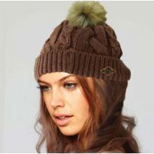 Braided Hat With Pom Pom