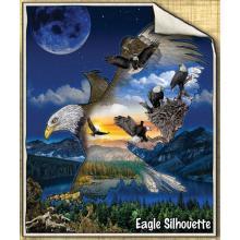 Micro Mink Sherpa Eagle Silhouette Throw