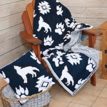 Jacquard Sherpa Blanket & Pillow Wolf